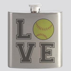 Love Softball Flask